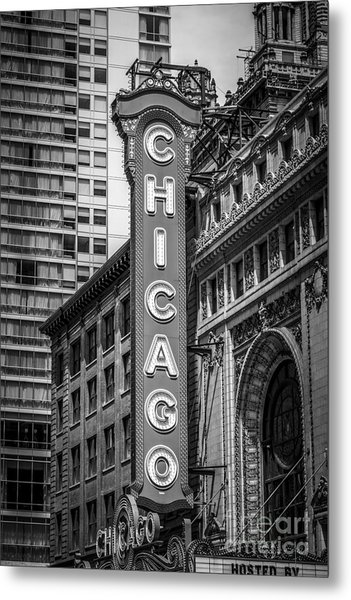 Chicago Theater Sign In Black And White Metal Print