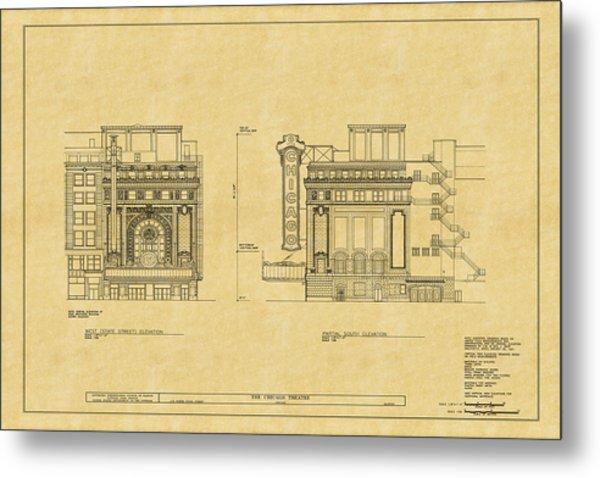 Chicago Theatre Blueprint 2 Metal Print