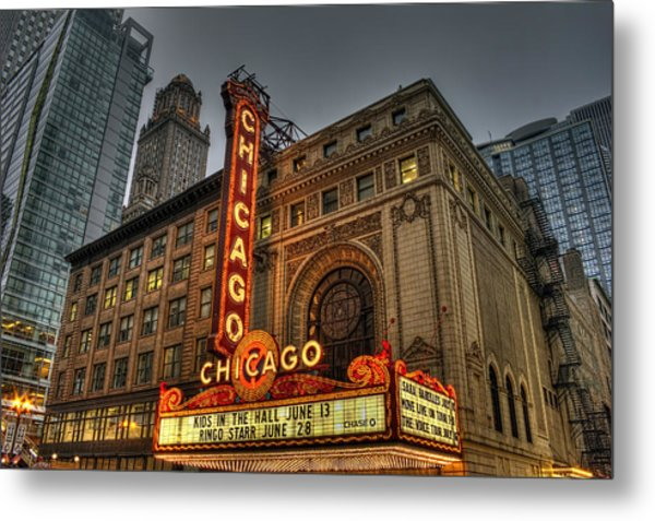Chicago Theatre Hdr Metal Print