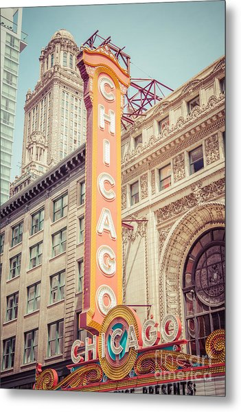Chicago Theatre Retro Vintage Picture Metal Print