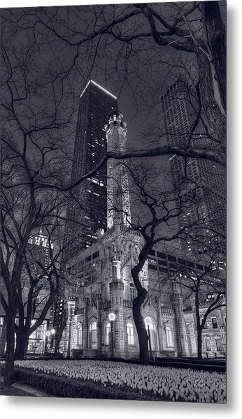 Chicago Water Tower Dusk B W Metal Print