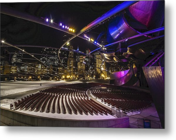 Chicago's Pritzker Pavillion With Colored Lights  Metal Print