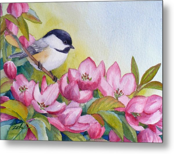 Chickadee And Crabapple Flowers Metal Print