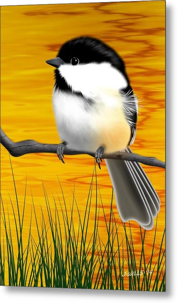 Chickadee On A Branch Metal Print
