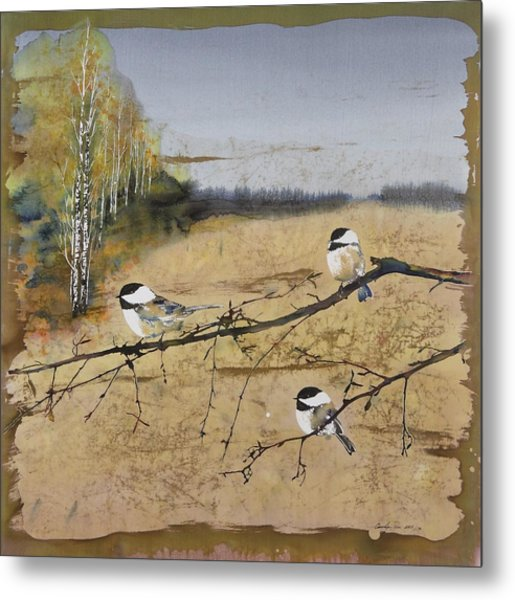 Chickadees And A Row Of Birch Trees Metal Print