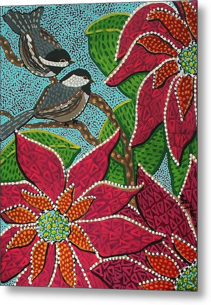 Chickadee's At Winter Time Metal Print
