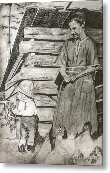Chicken Coop - Woman And Son - Feeding Chickens Metal Print