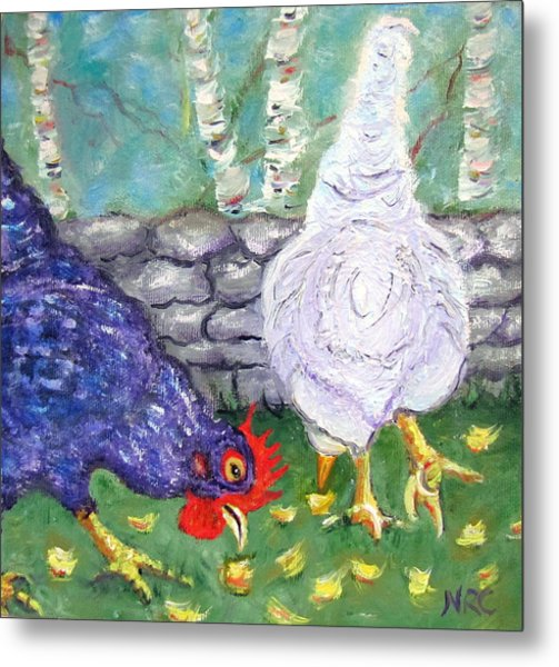 Chicken Neighbors Metal Print