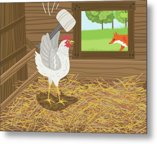 Chicken With A Mallet Waits For  A Fox Metal Print by Diane Labombarbe