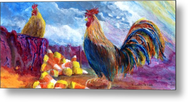Chickens And Candy Corn Metal Print
