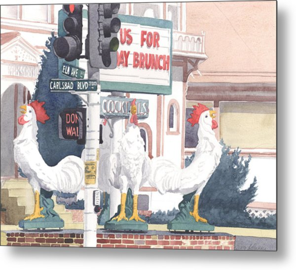 Chickens At Twin Inns Carlsbad Metal Print