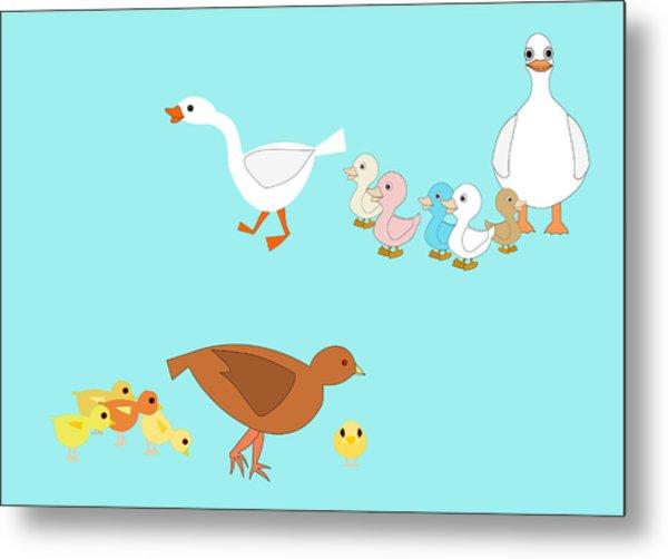 Chicks And Ducks Metal Print