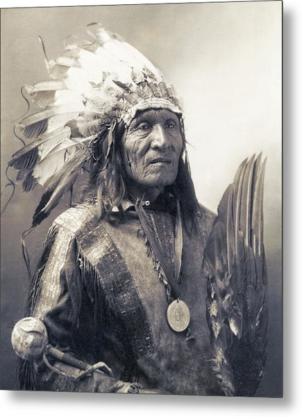 Chief He Dog Of The Sioux Nation  C. 1900 Metal Print