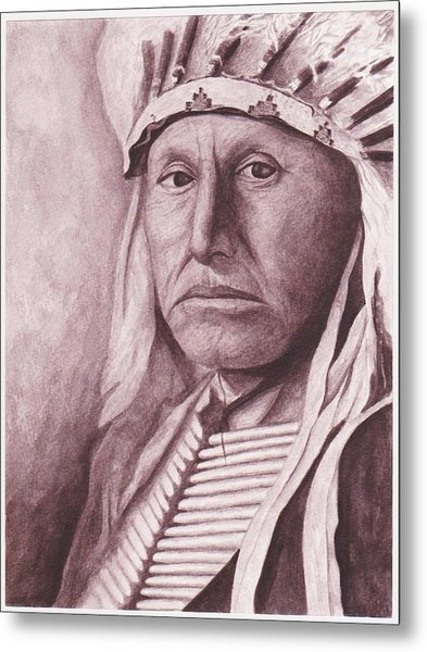 Chief Red Tomahawk Metal Print by Billie Bowles