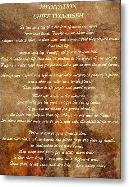 Chief Tecumseh Poem Metal Print