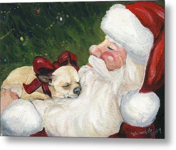 Chihuahua's Cozy Christmas Metal Print