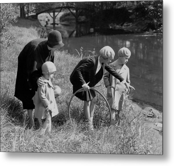 Children And Their Nanny Playing Metal Print