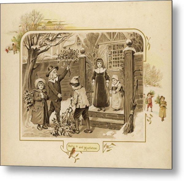 Children Arrive Home And Proudly Metal Print by Mary Evans Picture Library