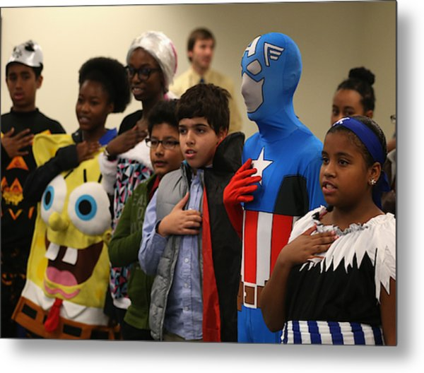 Children Attend Halloween-themed U.s. Citizenship Ceremony In Baltimore Metal Print by Mark Wilson