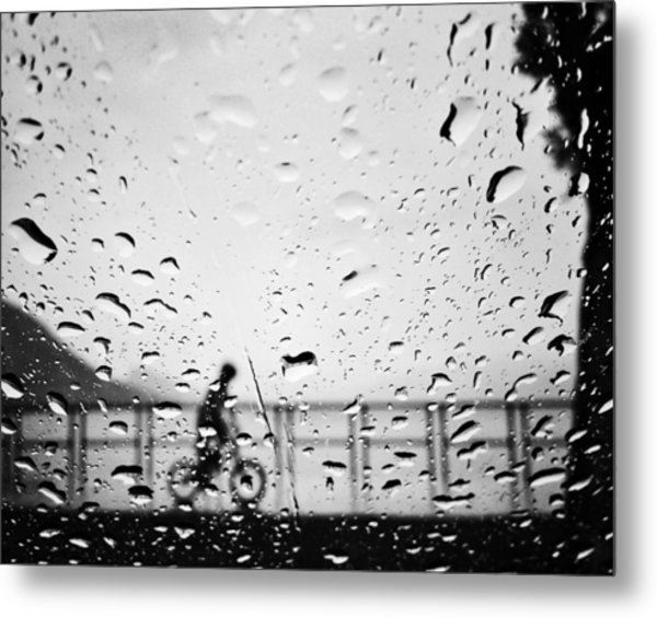 Children In Rain Metal Print