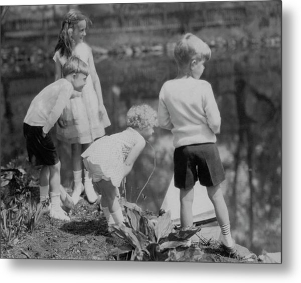 Children Playing Beside A Pond Metal Print