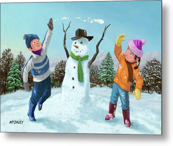Children Playing In Snow Metal Print