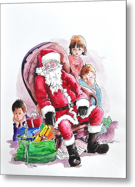 Children Patiently Waiting Up For Santa. Metal Print