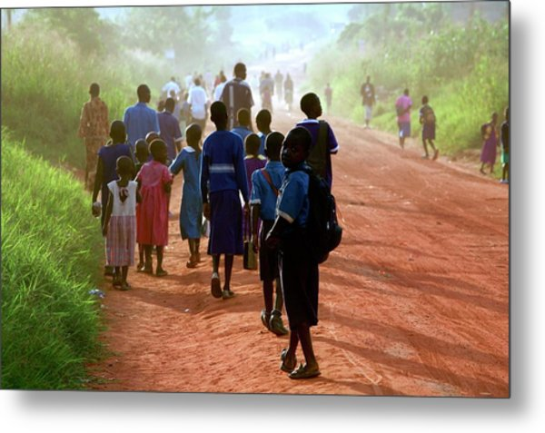 Children Walking Along A Road Metal Print