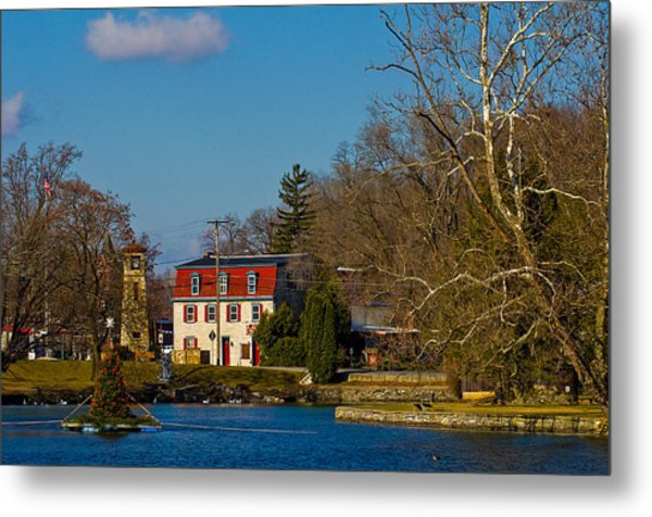 Children's Lake At Boiling Springs In Christmastime Metal Print