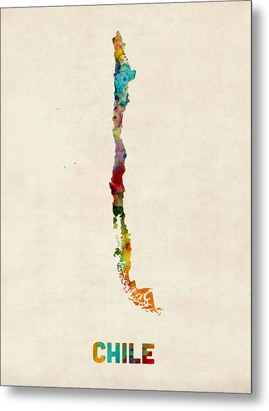 Chile Watercolor Map Metal Print