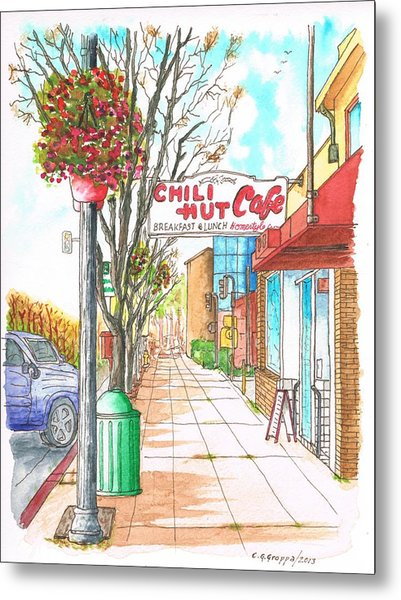 Chili Hut Cafe In Main Street, Santa Paula, California Metal Print