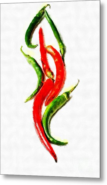 Chili Papers Of Various Shapes Painting Metal Print by Magomed Magomedagaev