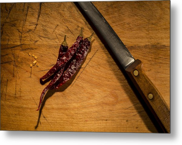 Chilli Peppers Metal Print by Andrew Pacheco