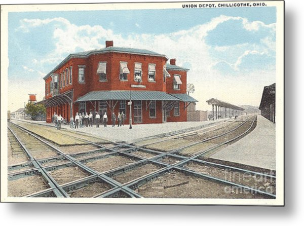 Chillicothe Ohio Railroad Depot Postcard Metal Print