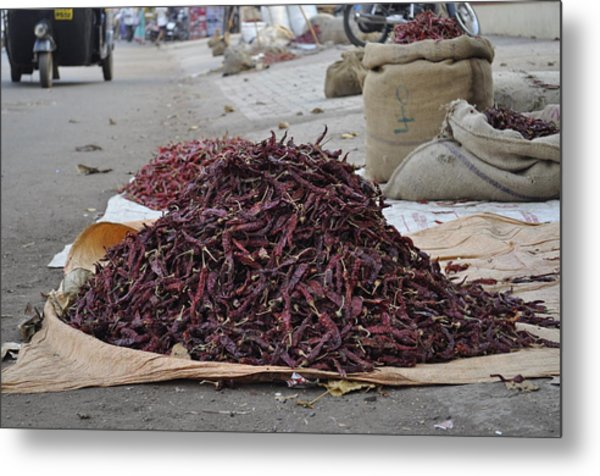 Chillies  Metal Print by Bliss Of Art