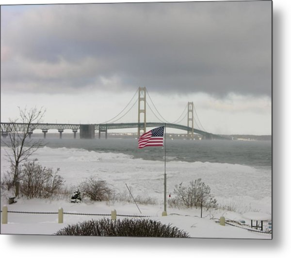 Chilly Mackinac Bridge Metal Print