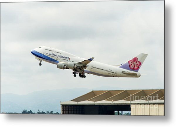 China Arlines 747 Lifts Off From Lax Metal Print