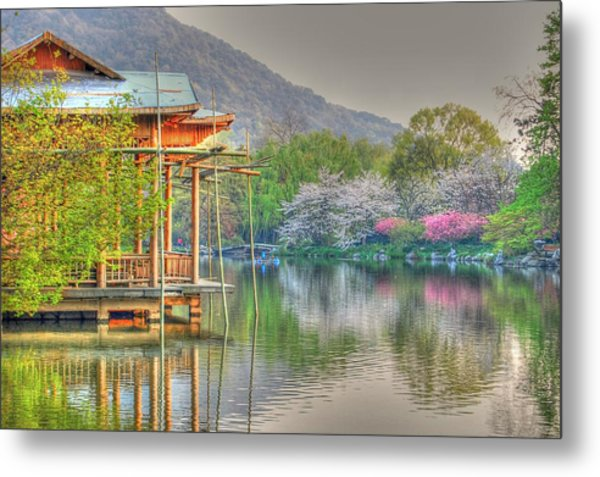 China Lake House Metal Print