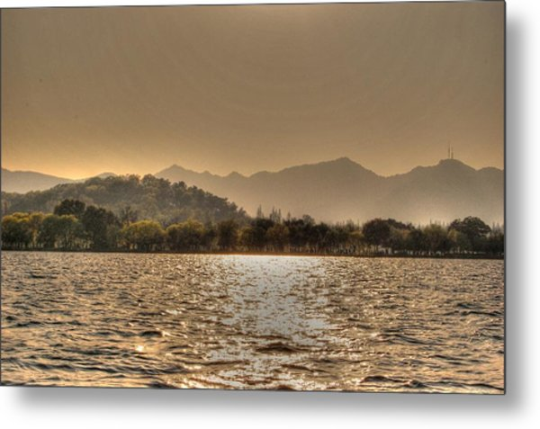 China Lake Sunset Metal Print