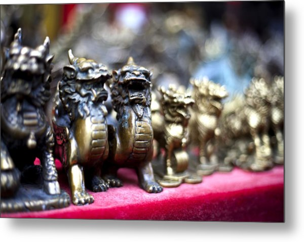 Chinese Guardian Lions Metal Print by SFPhotoStore