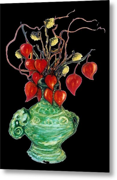 Chinese Lanterns On Black Metal Print by Rae Chichilnitsky