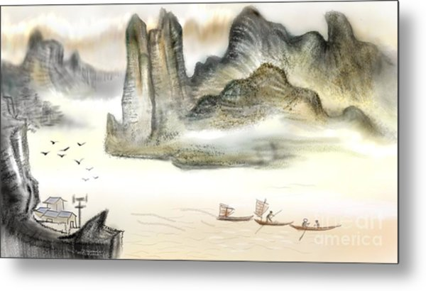 Chinese Painting On Computer Metal Print