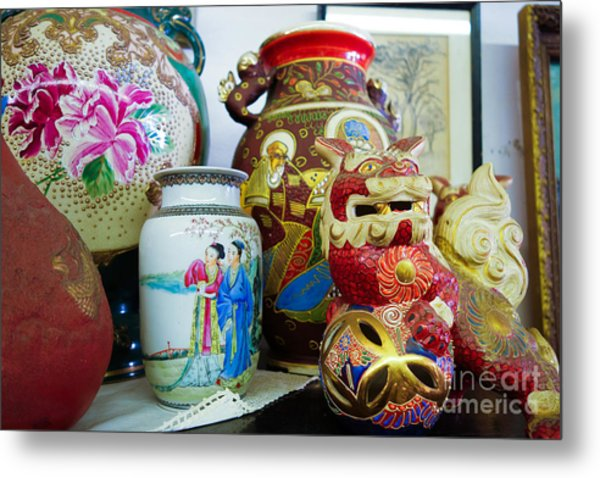 Chinese Pottery And Vases Metal Print