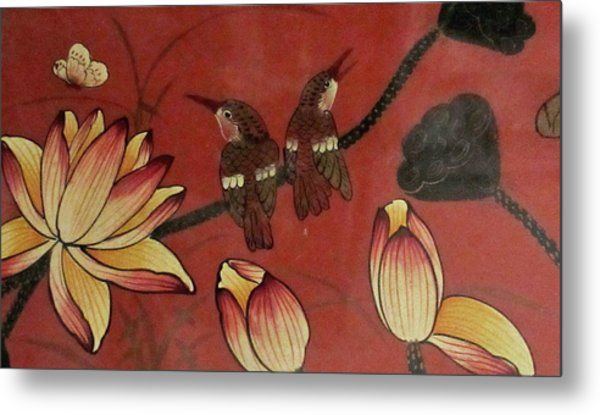 Chinese Red Lacquer Chest Detail Metal Print