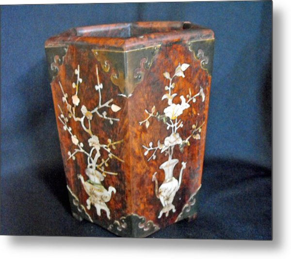 Chinese Scholar's Brush Container Metal Print by Anonymous
