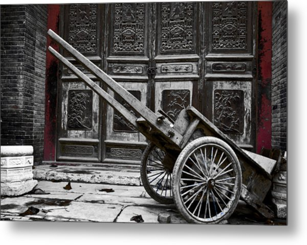 Chinese Wagon In Black And White Xi'an China Metal Print