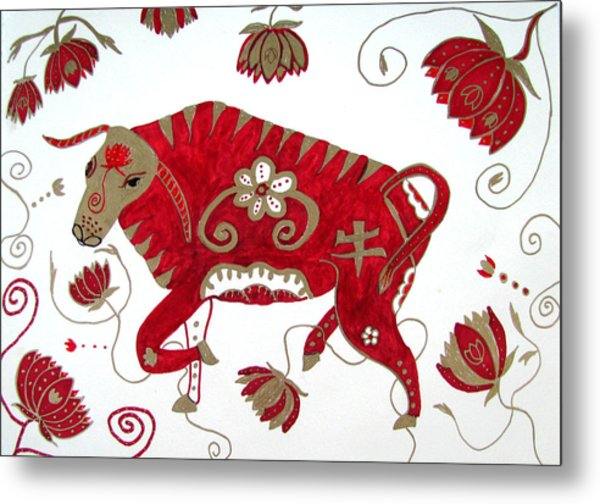 Chinese Year Of The Ox Metal Print