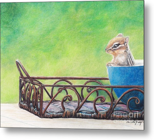 Chipmunk In Blue Bowl Metal Print by Charlotte Yealey