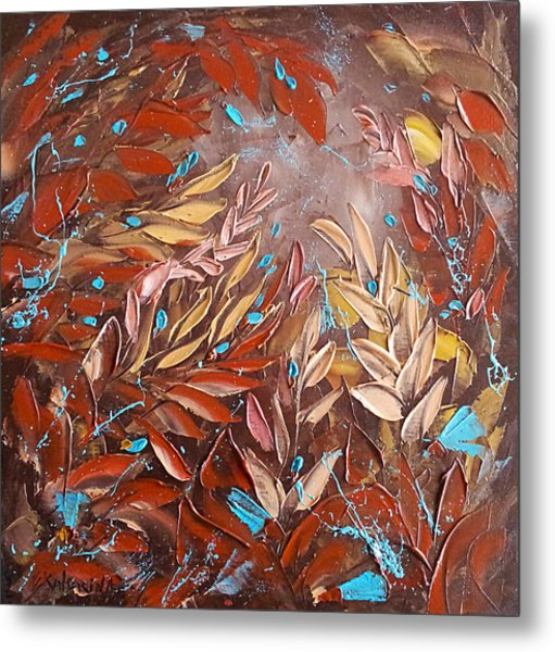 Chocolate And Turquoise Abstract Art Oil Painting By Ekaterina Chernova Metal Print
