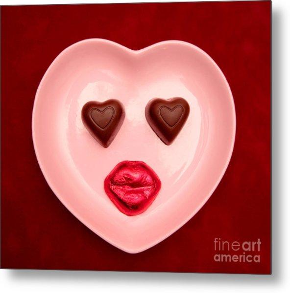 Chocolate Heart Face Metal Print